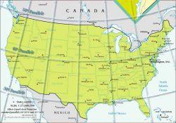 Mappa degli Stati Uniti. I possibili tracciati per la ferrovia seguivano il 32° e il 49° parallelo