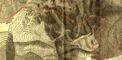 Mappa del tracciato lungo la Sierra e dei tunnel predisposti lungo il Donner Pass