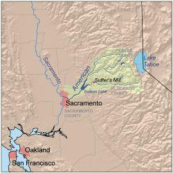 Mappa della California, tratto dell'American River interessato alla ricerca dell'oro.