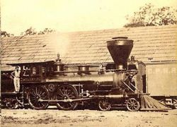 Locomotiva Atlantic presso Colfax, stereoview n° 34 di A.A. Hart
