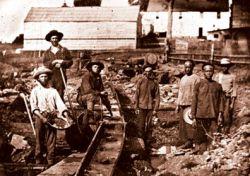 Alcuni cercatori d'oro al lavoro.
