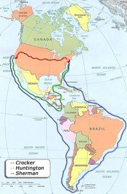 I possibili tragitti percorribili per raggiungere la California, nel 1850